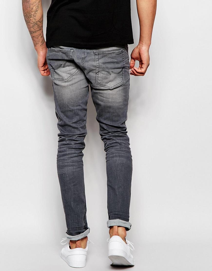 jack jones super stretch washed black skinny jeans in gray for men. Black Bedroom Furniture Sets. Home Design Ideas