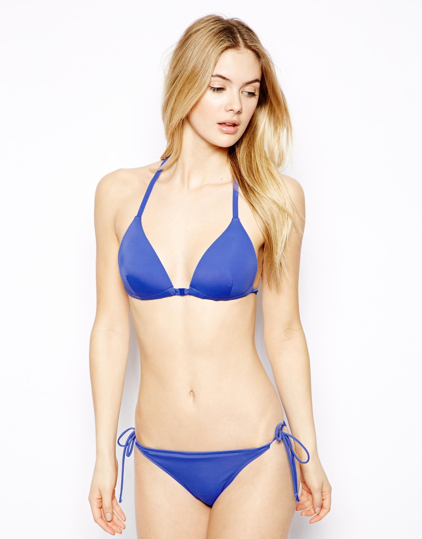 cec402e7fa875 Lyst - Asos Mix and Match Moulded Triangle T Back Bikini Top in Blue