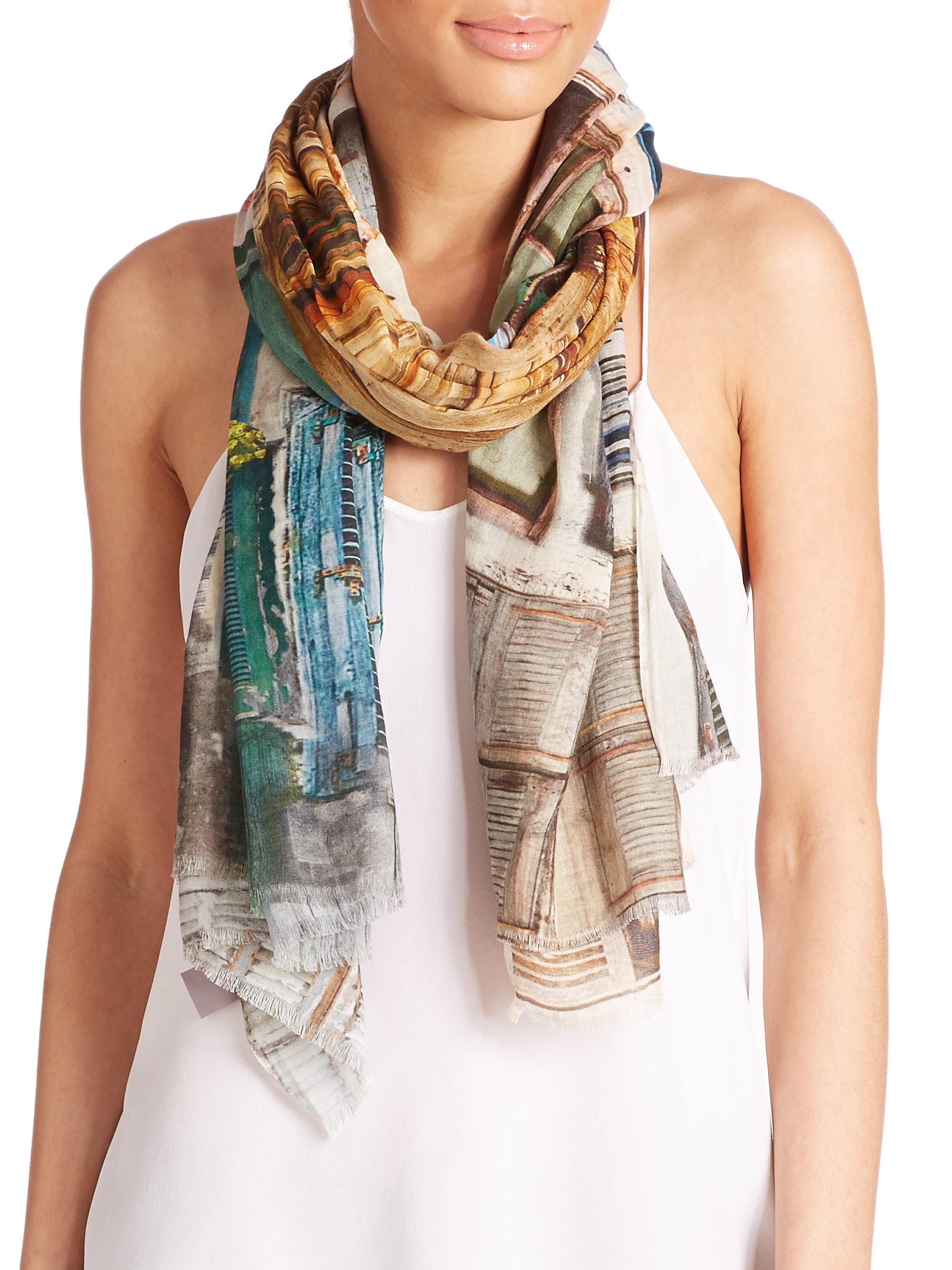 tilo windows cotton modal scarf in blue lyst