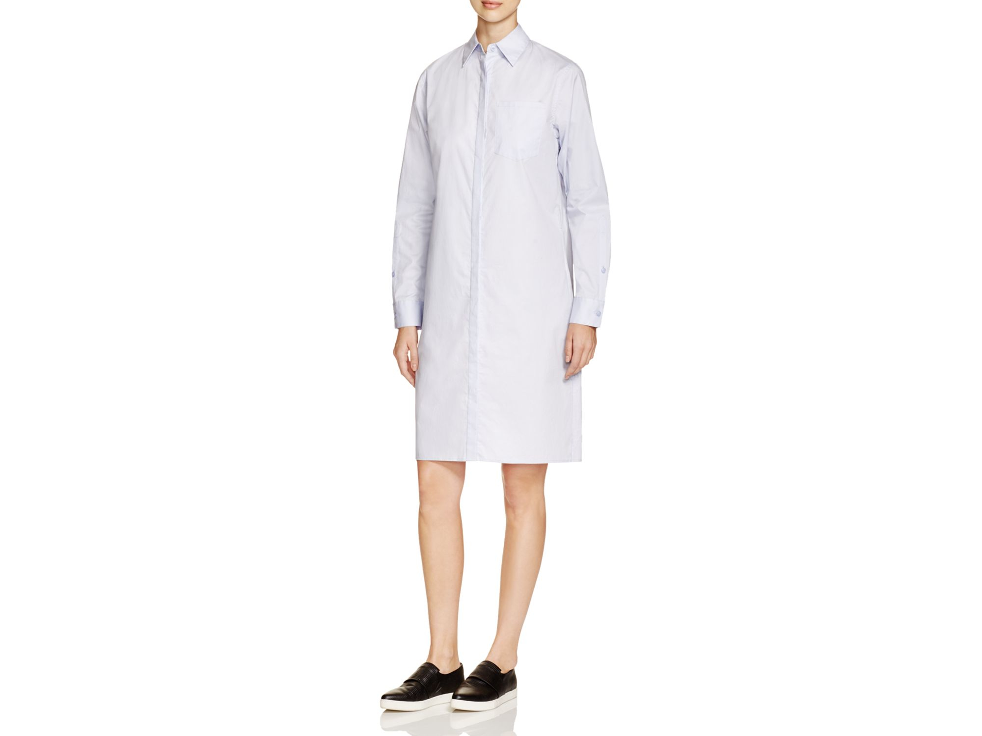 Lyst dkny stretch cotton shirt dress in white for How to stretch a dress shirt