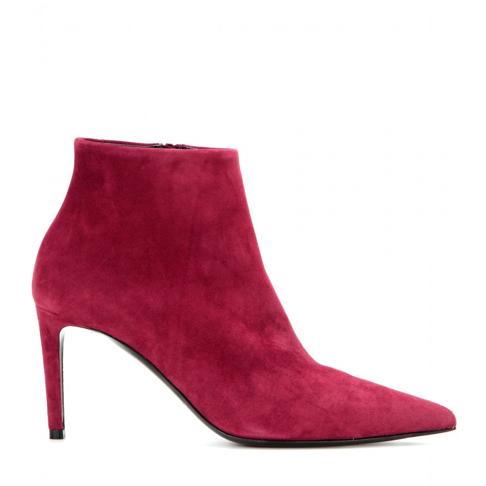 balenciaga suede ankle boots in purple lyst