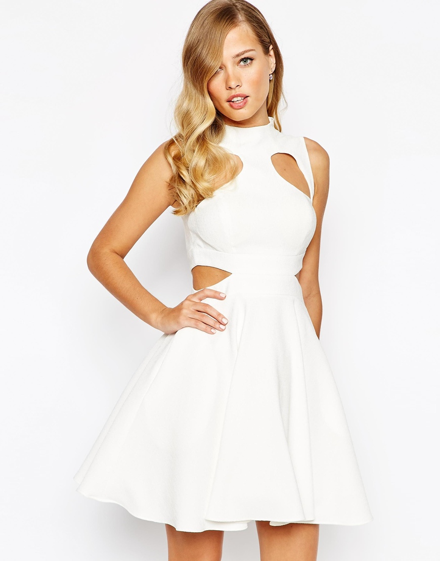 f2e2634b1865 Lyst - Forever Unique Marley Structured Skater Dress With Cut Outs ...