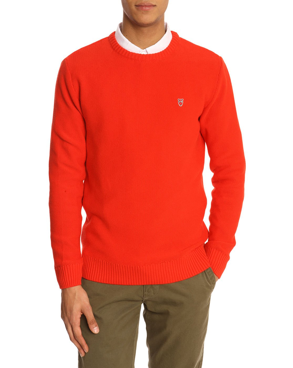 knowledge cotton apparel logo red sweater in red for men lyst. Black Bedroom Furniture Sets. Home Design Ideas