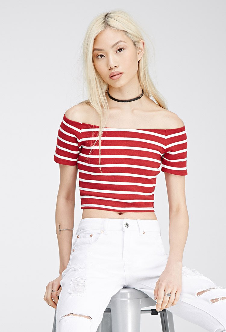 b3435cc24850a2 Lyst - Forever 21 Striped Off-the-shoulder Top in Red