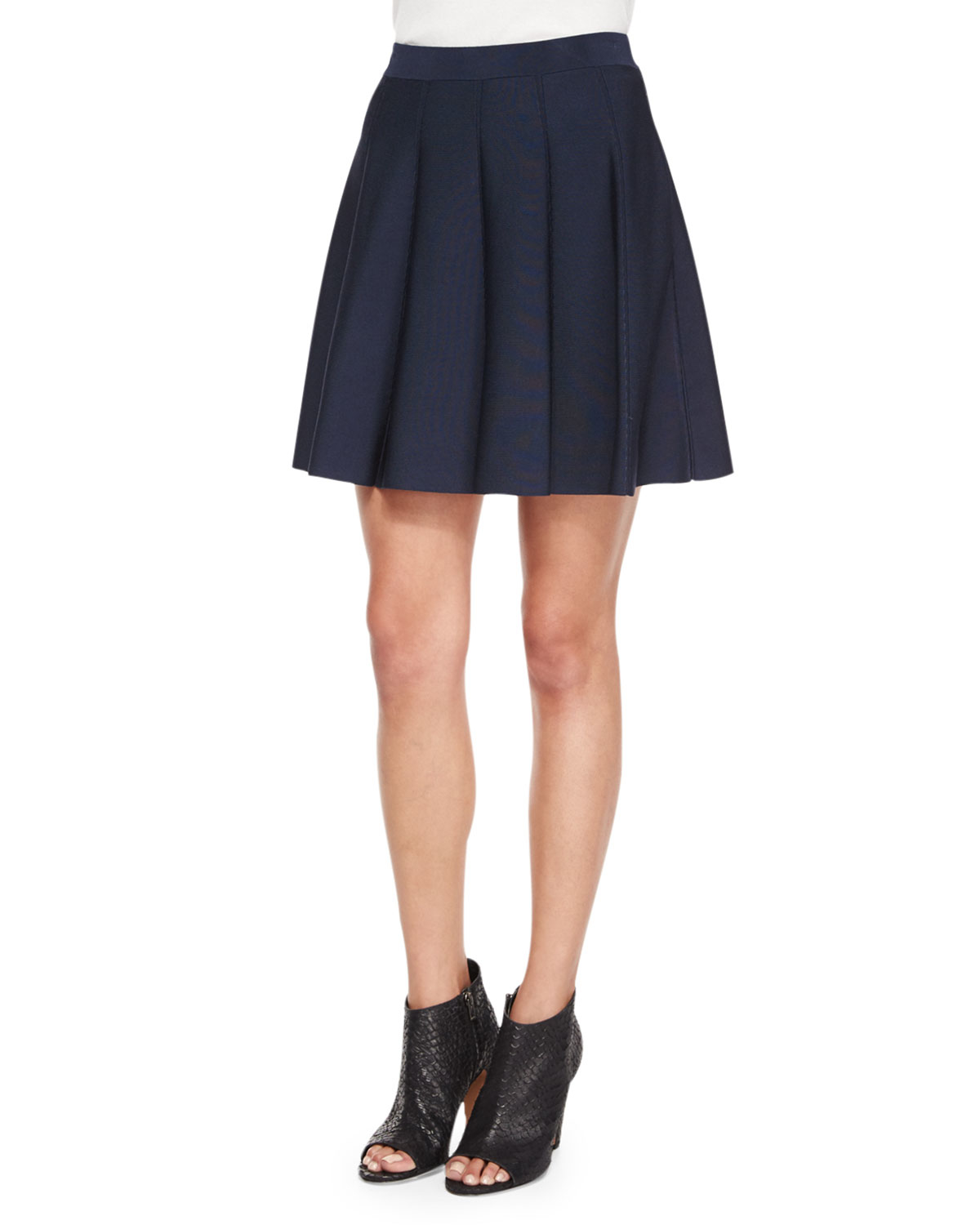 zoey pleated a line skirt in blue navy lyst