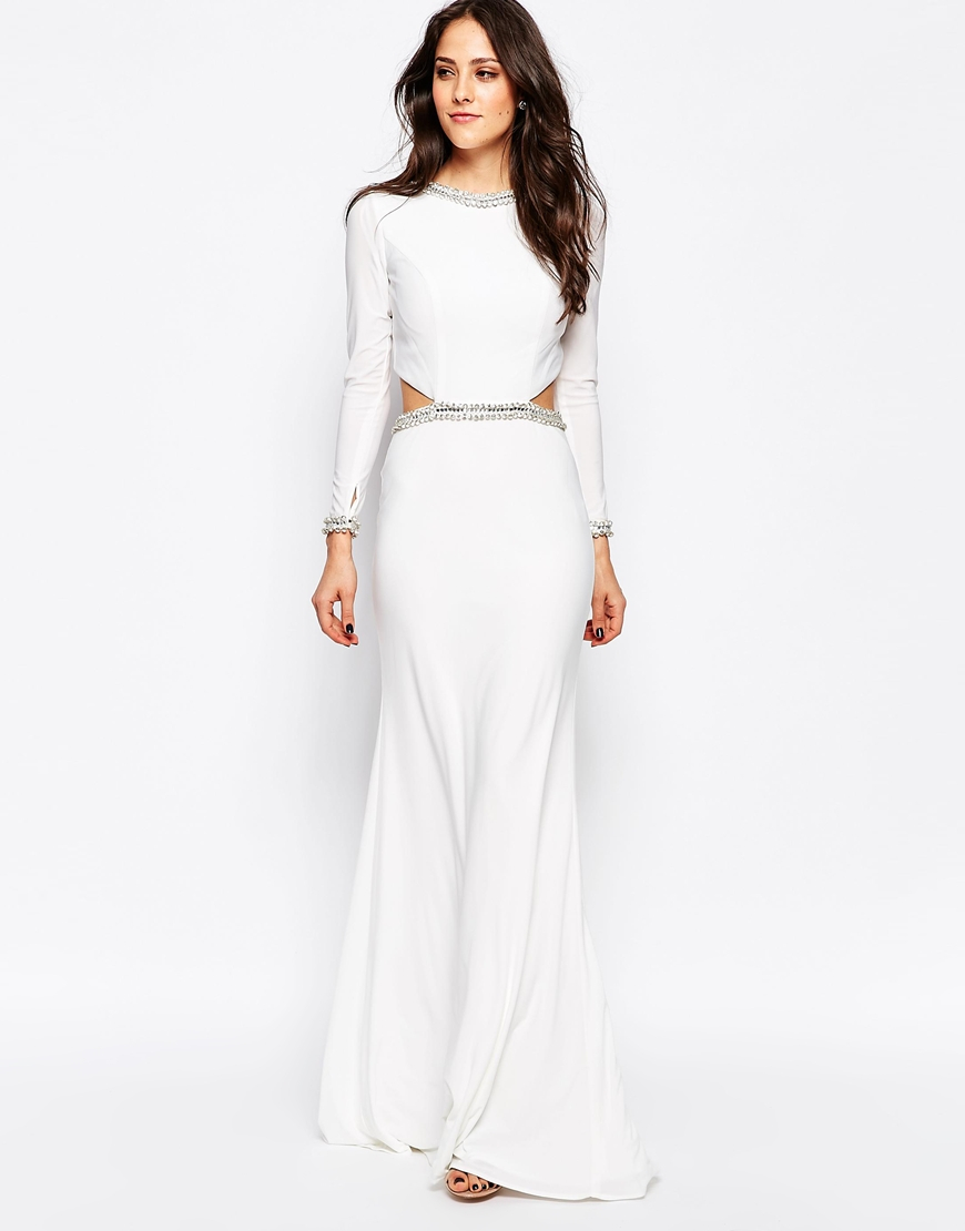 Forever unique Tiara Long Sleeve Maxi Dress With Cut Outs And ...