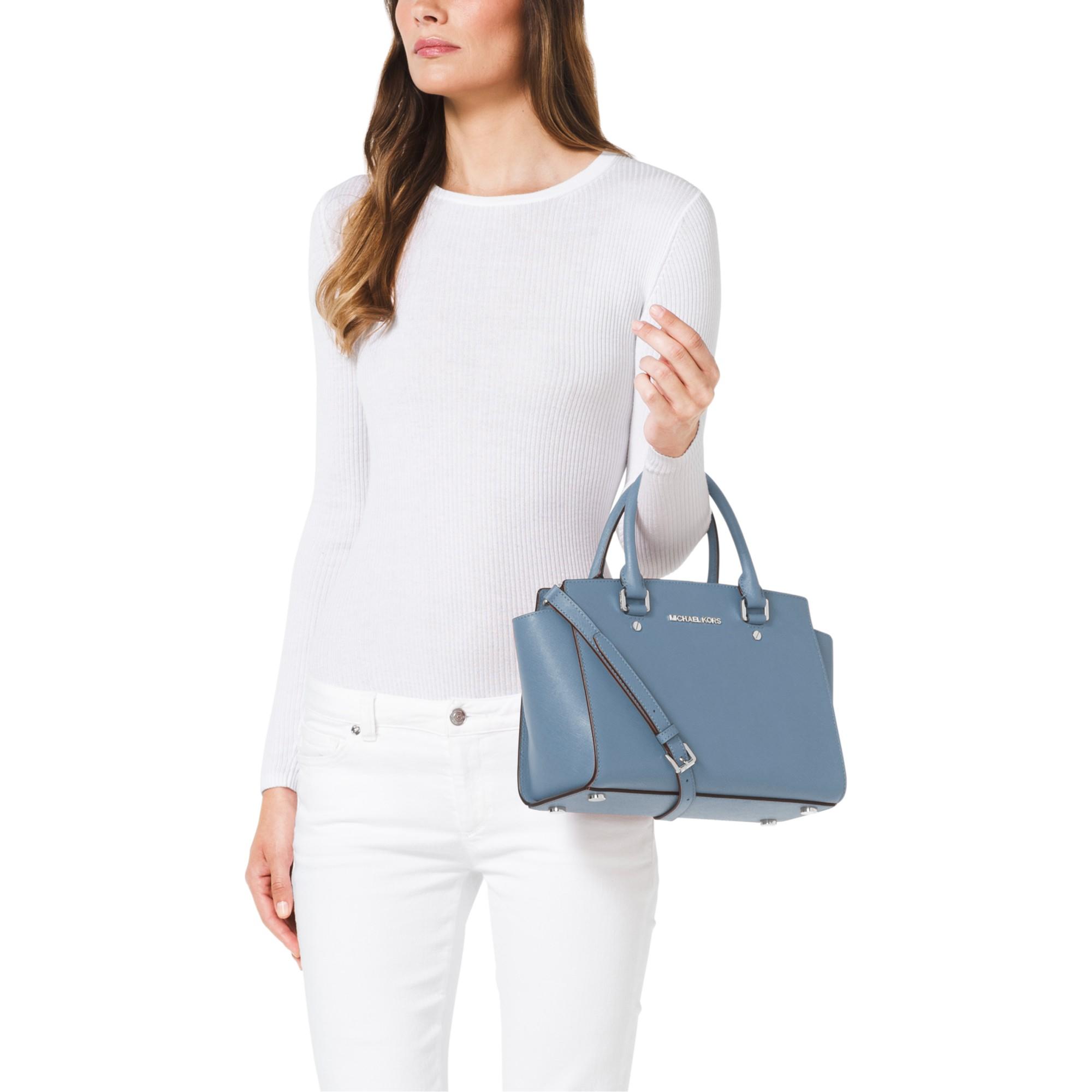 41e4e56bb82b76 MICHAEL Michael Kors Selma Medium Top Zip Leather Satchel in Blue - Lyst