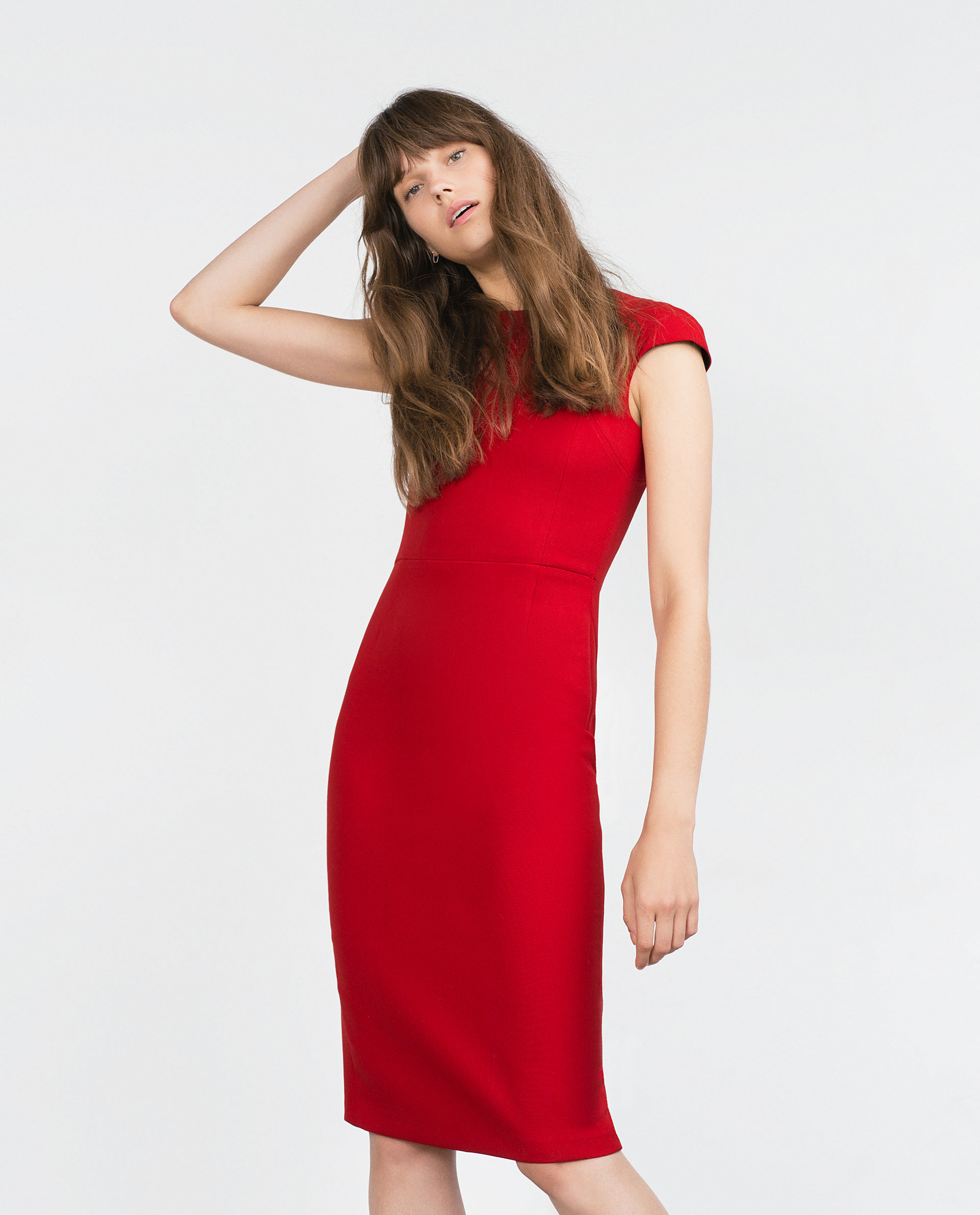 Zara Dress With Zips At The Back in Red - Lyst