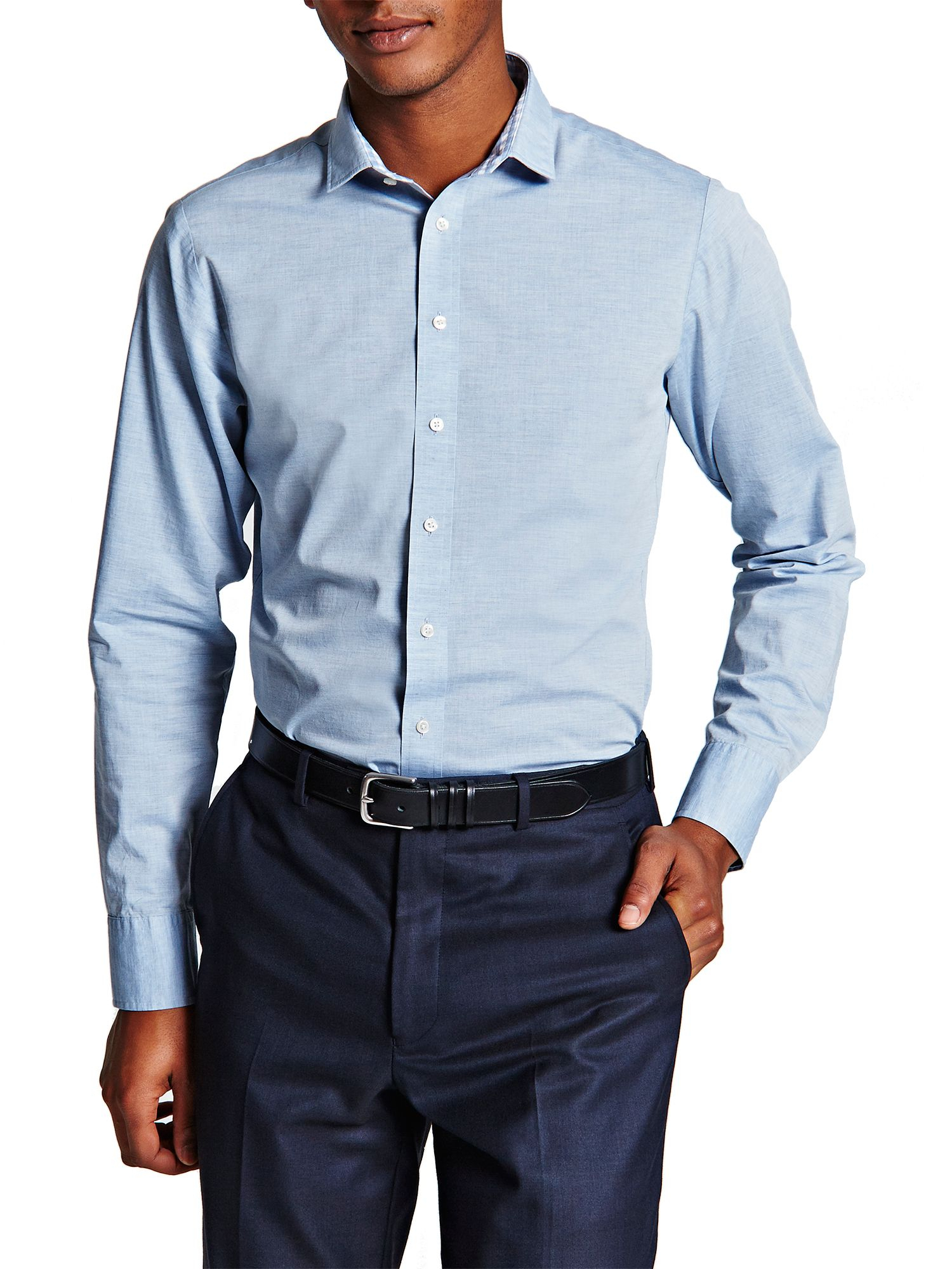 Thomas Pink Bailey Plain Super Slim Fit Shirt In Blue For