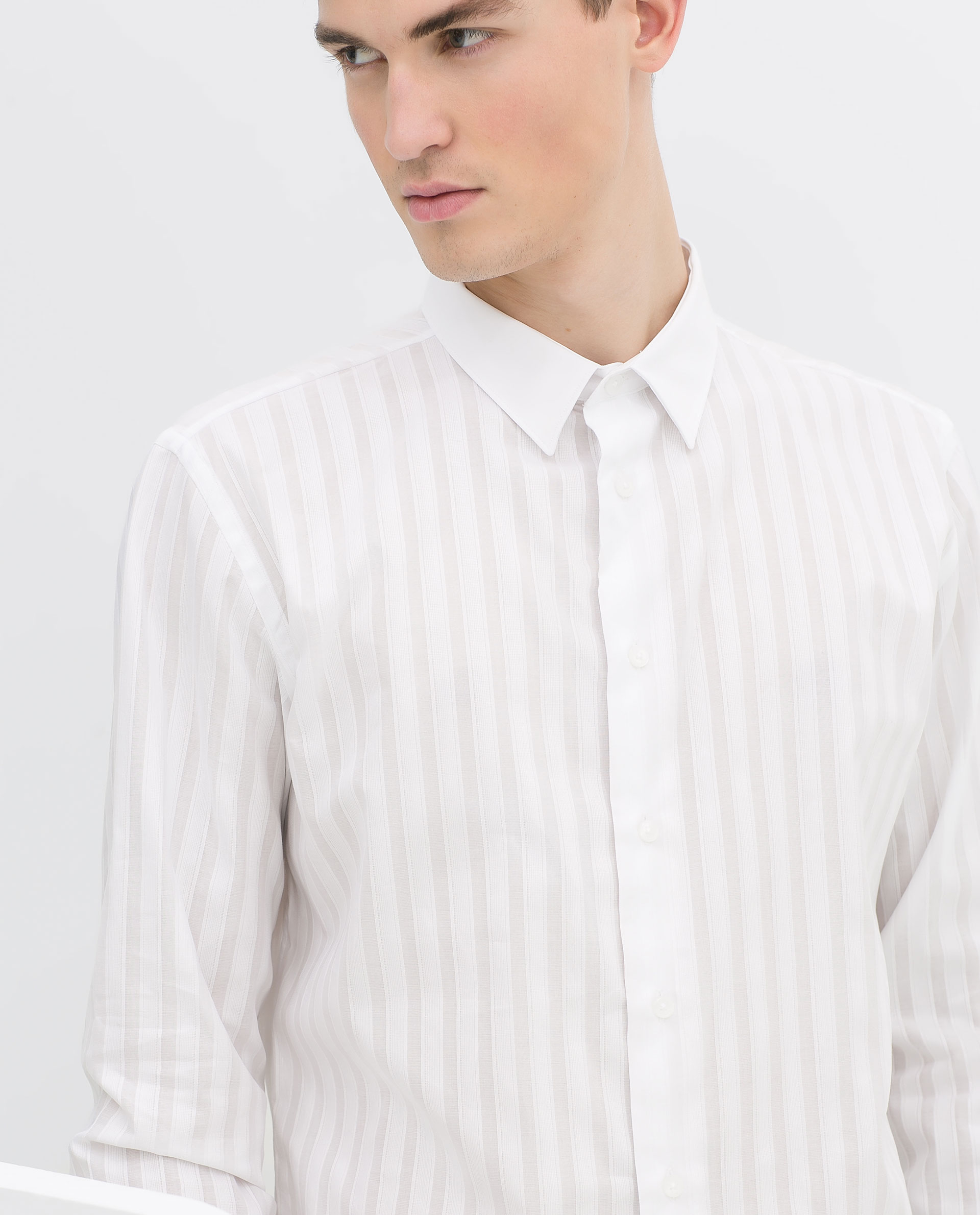 Zara Shirt With Contrasting Collar And Cuffs In White For