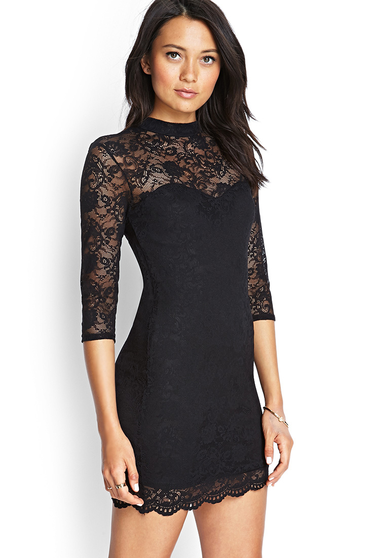 0c38a33c1f Lyst - Forever 21 Illusion Neckline Lace Dress You ve Been Added To ...