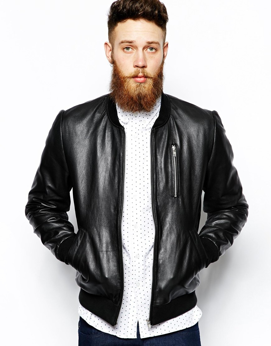 Mens Black Leather Bomber Jackets