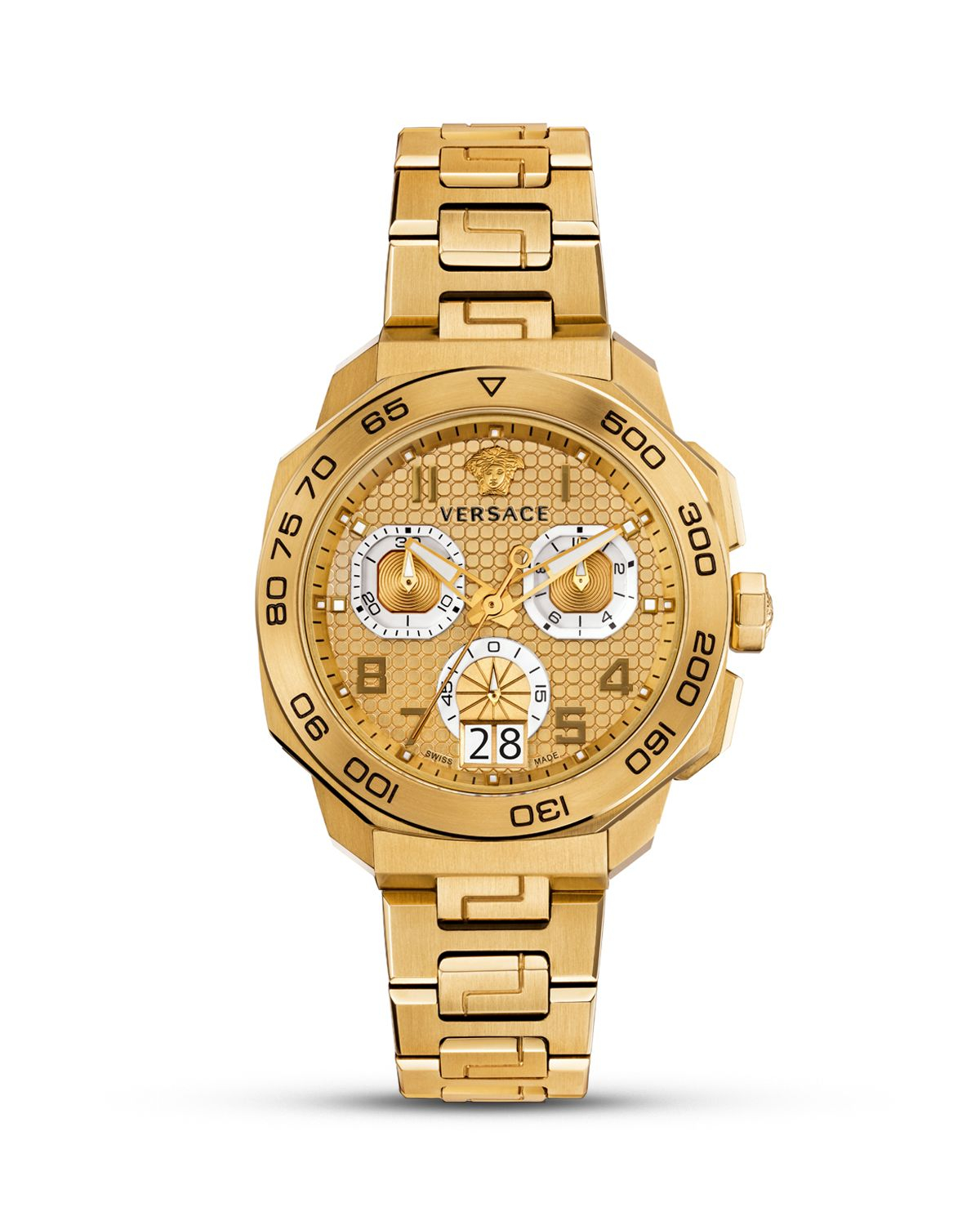 versace italian style swiss made 44mm in metallic