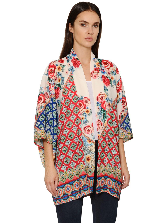 1358488ad Black Coral Printed Viscose Crepe Kimono in Blue - Lyst