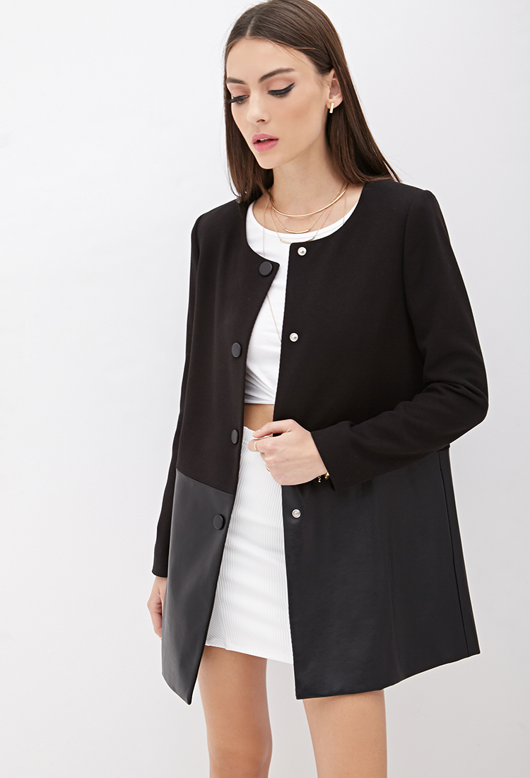 Forever 21 Collarless Faux Leather-paneled Coat in Black | Lyst