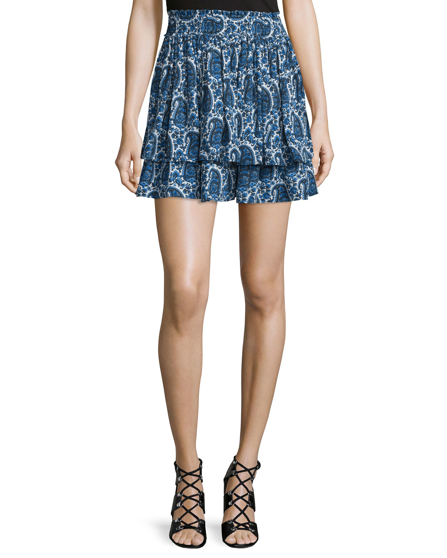 10 crosby derek lam tiered silk paisley mini skirt in blue
