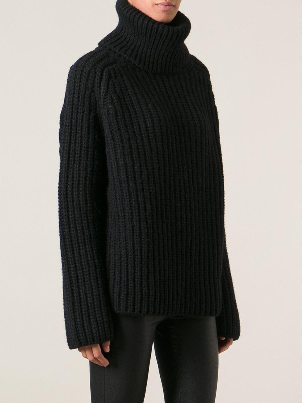 Ann demeulemeester Chunky Knit Turtleneck Sweater in Black | Lyst