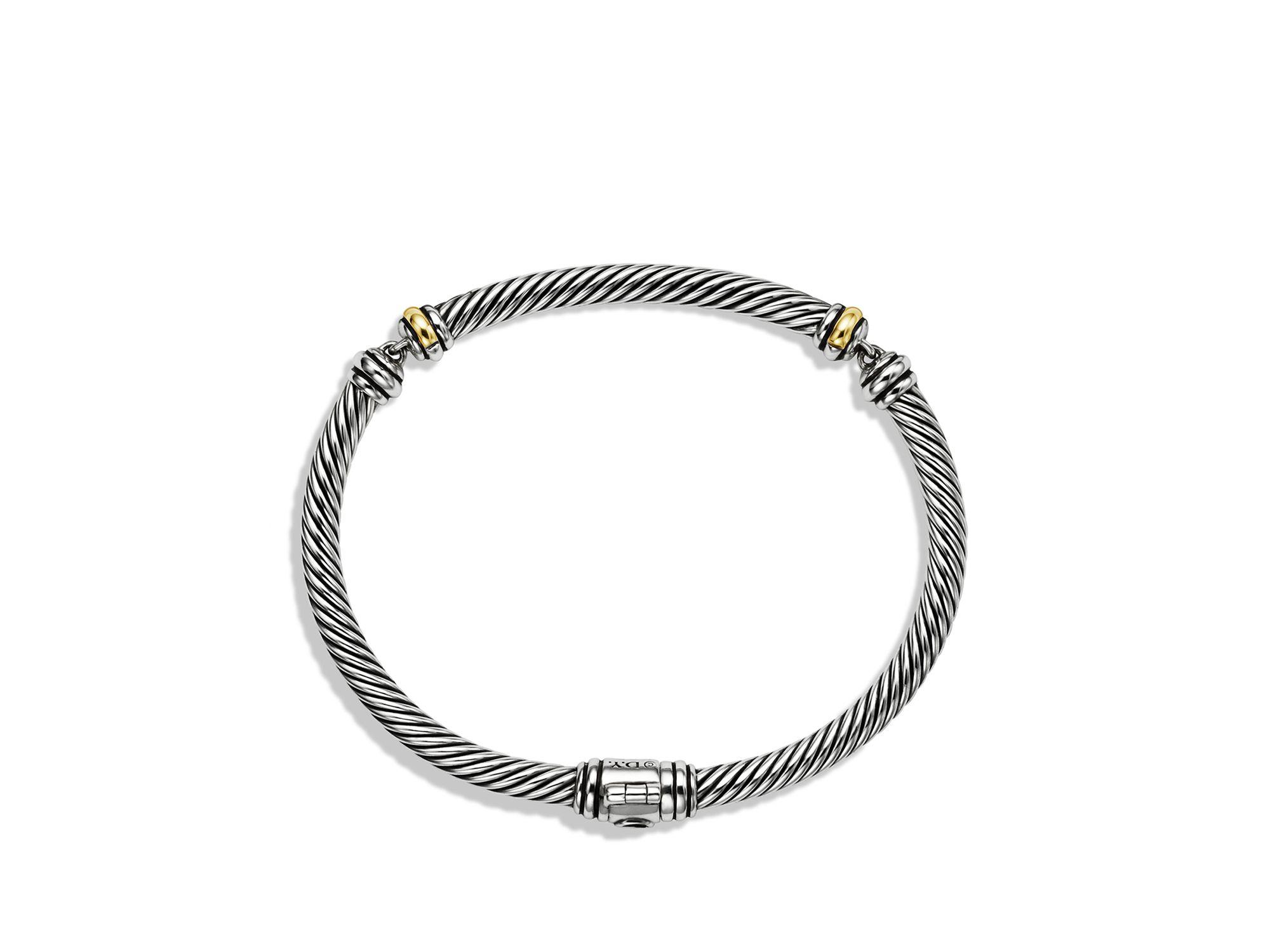 David yurman Metro Cable Bracelet With Gold in Metallic Lyst