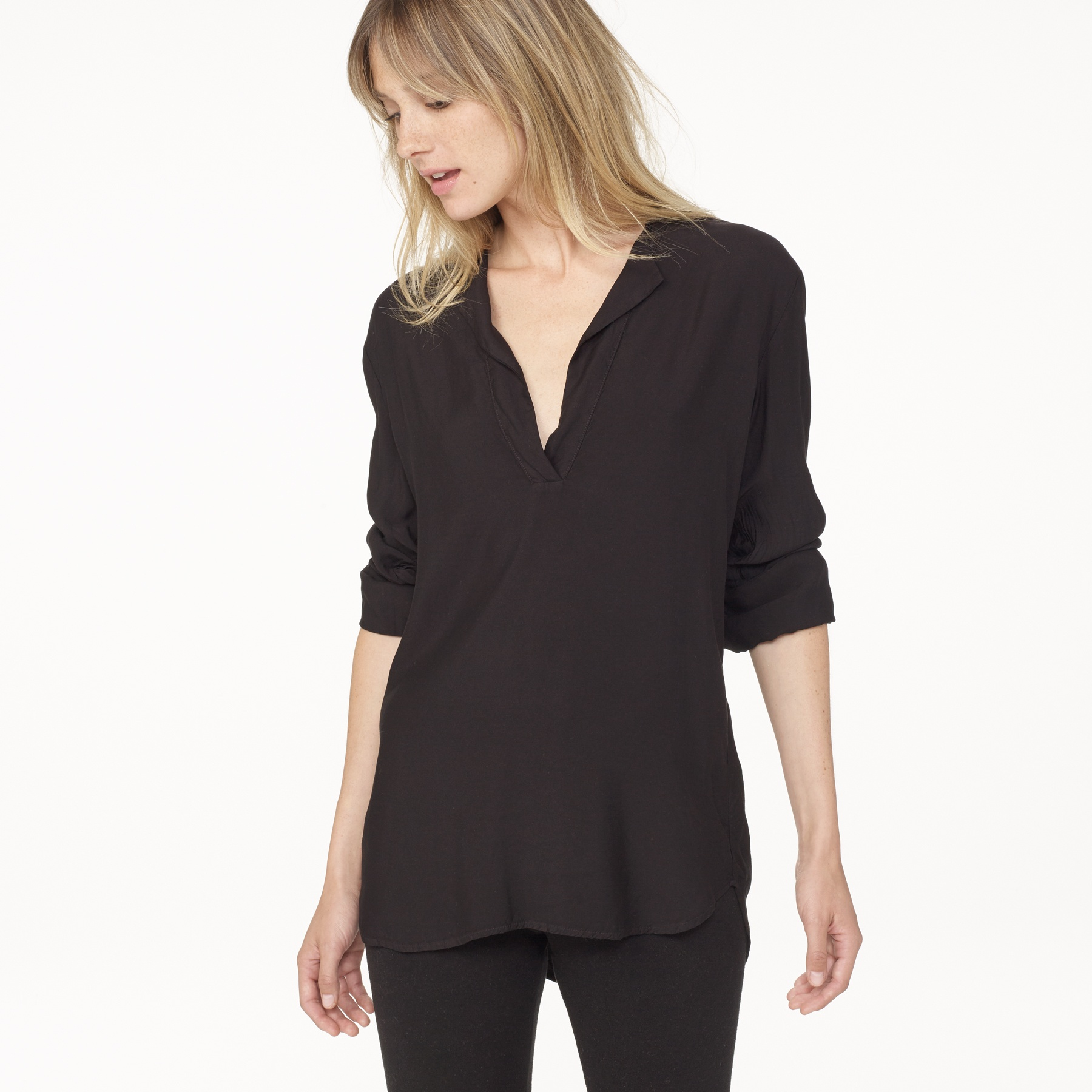 james perse sanded satin henley shirt in black lyst ForJames Perse Henley Shirt