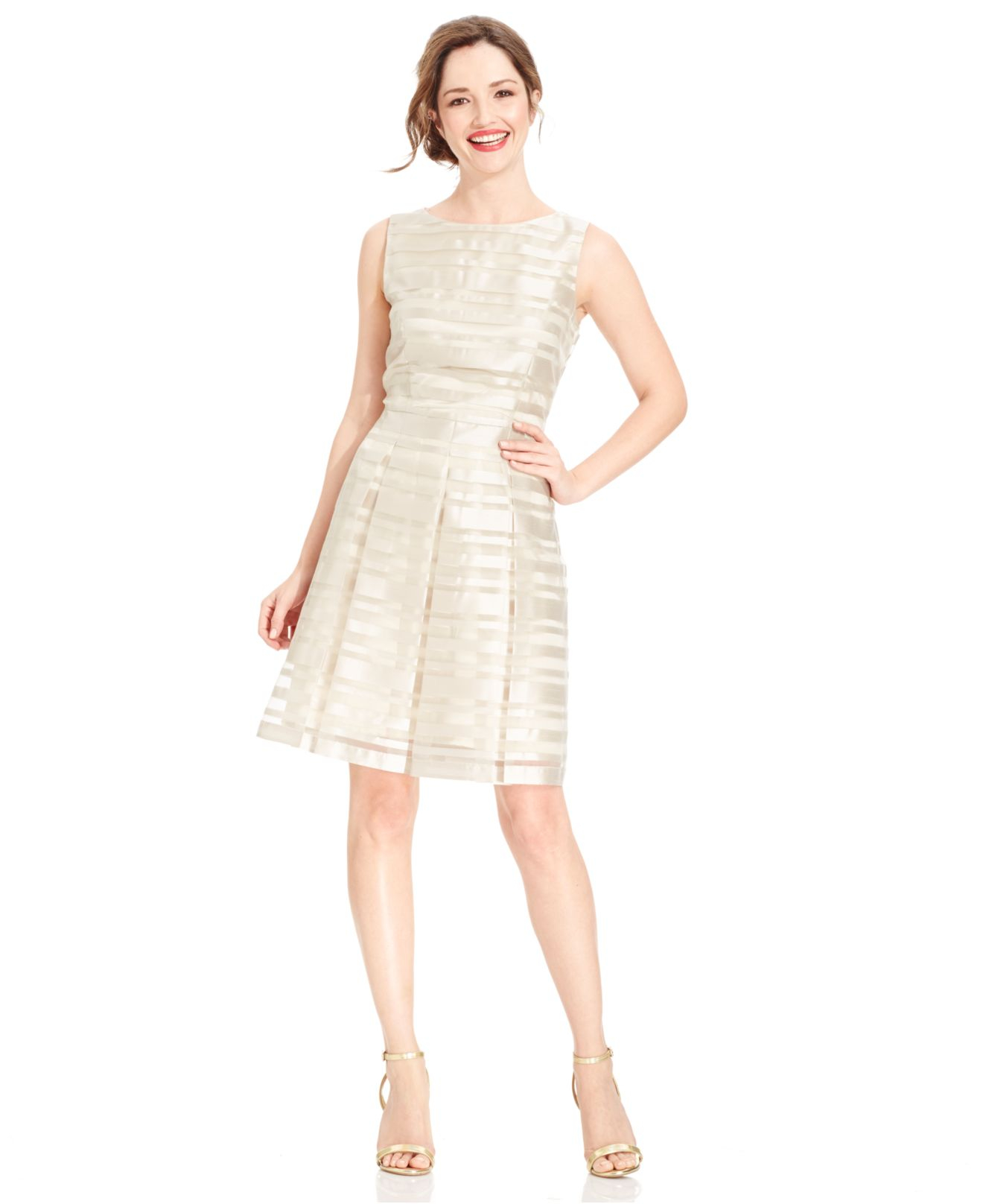 Lyst - Tahari Sleeveless Illusion-stripe Pleated Dress in Metallic 970ab4910