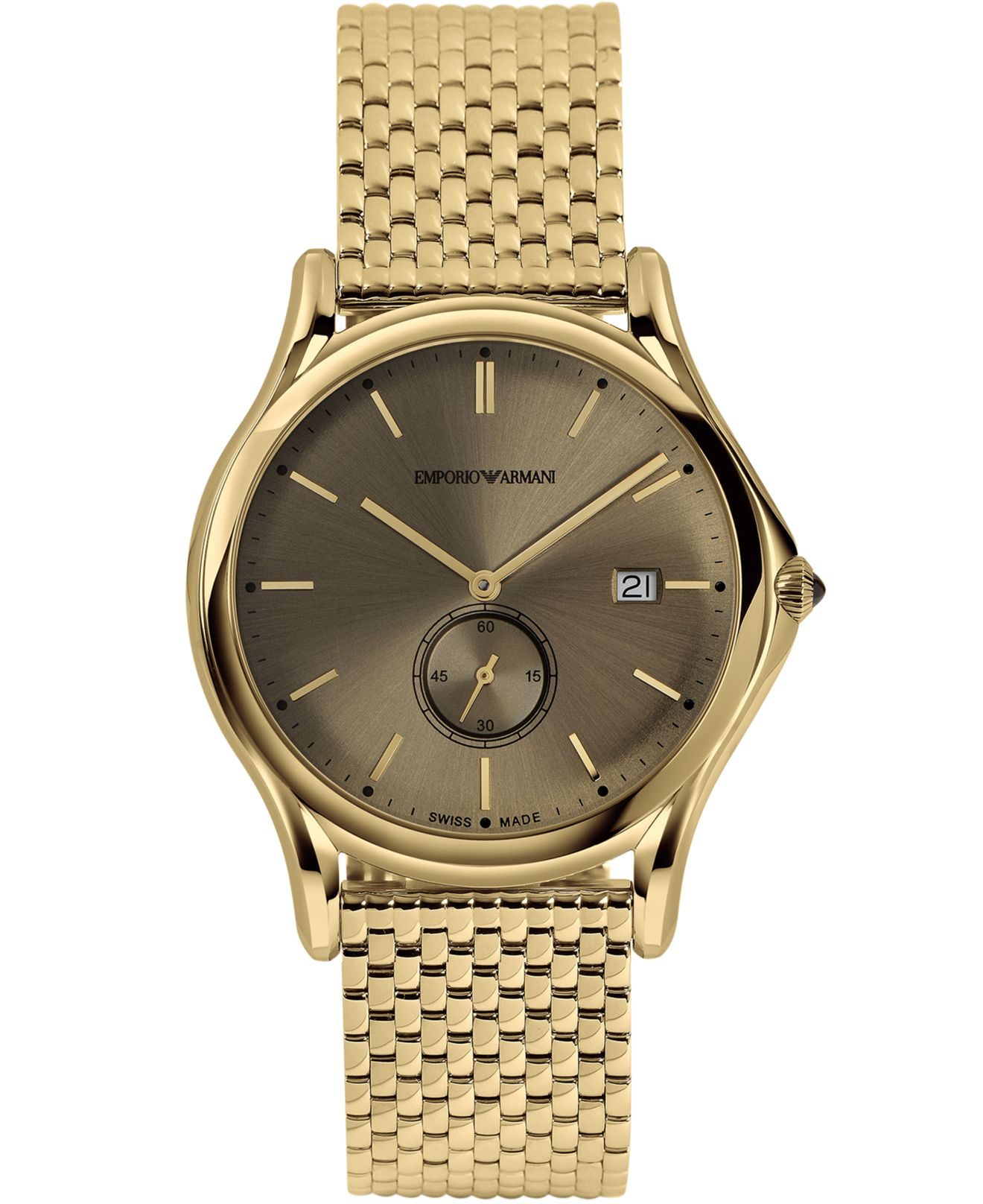 Emporio Armani Mens Swiss Gold Ion plated