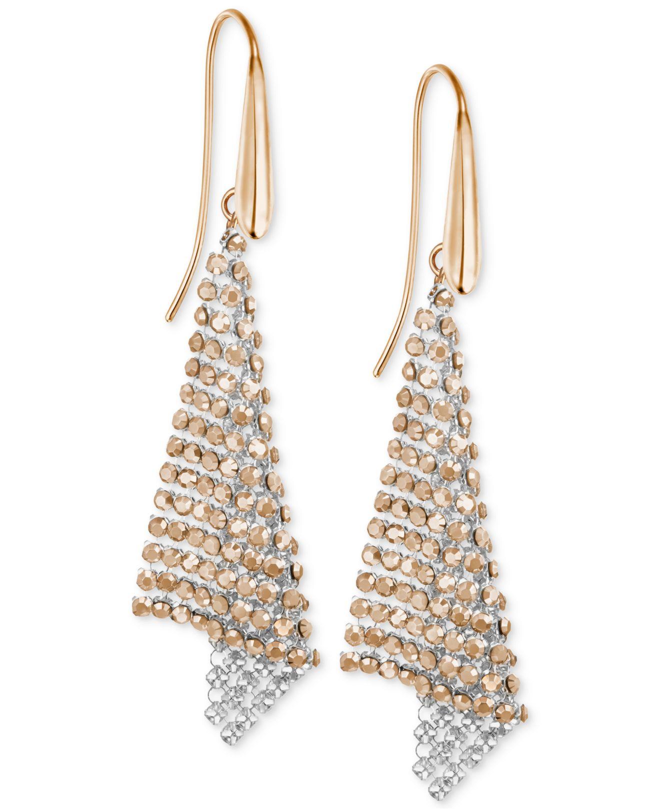 Lyst - Swarovski Rose Gold-tone Crystal Mesh Drop Earrings in Pink cdb20b46a4
