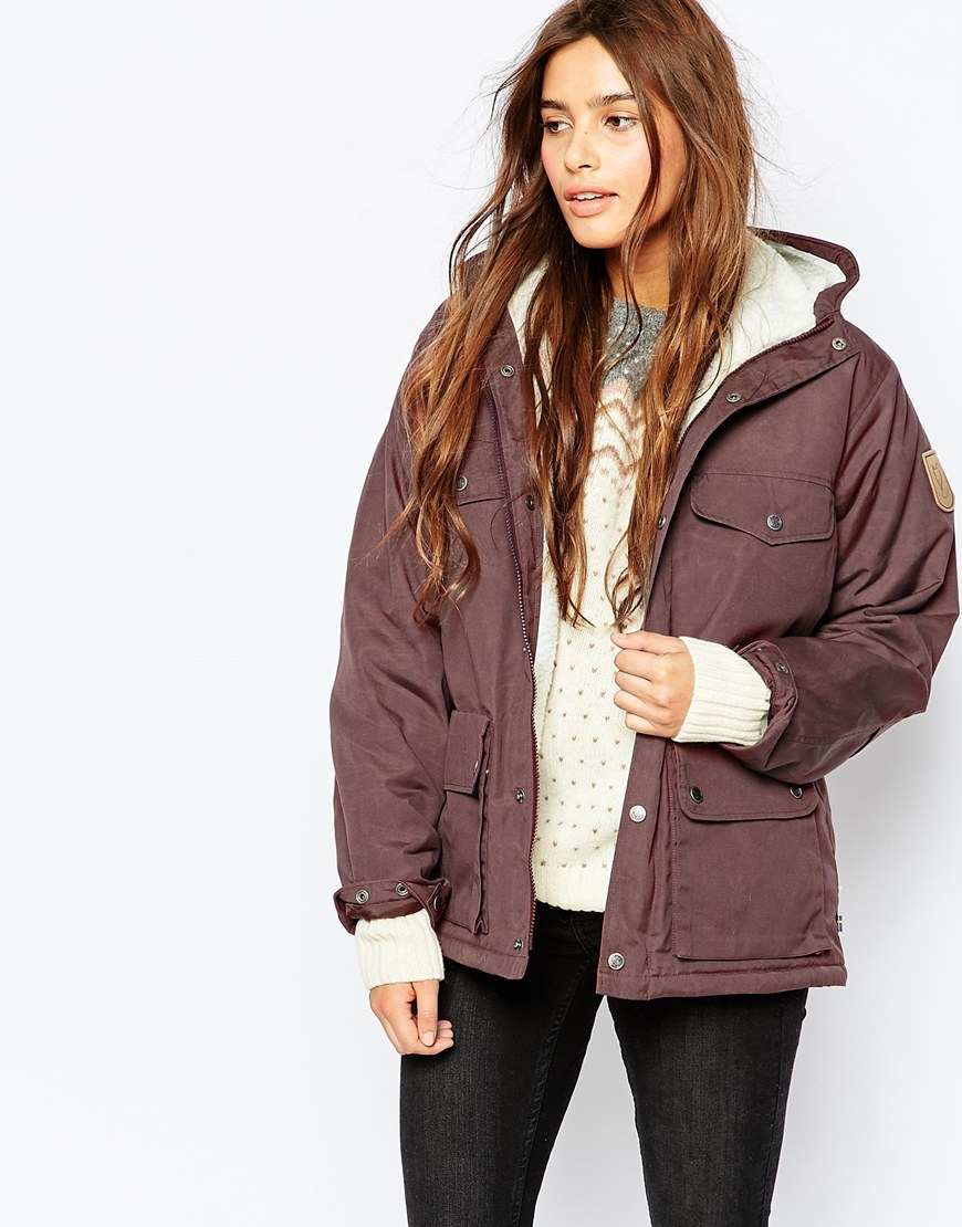 Fjallraven Short Hooded Lightweight Jacket With Faux Shearling ...