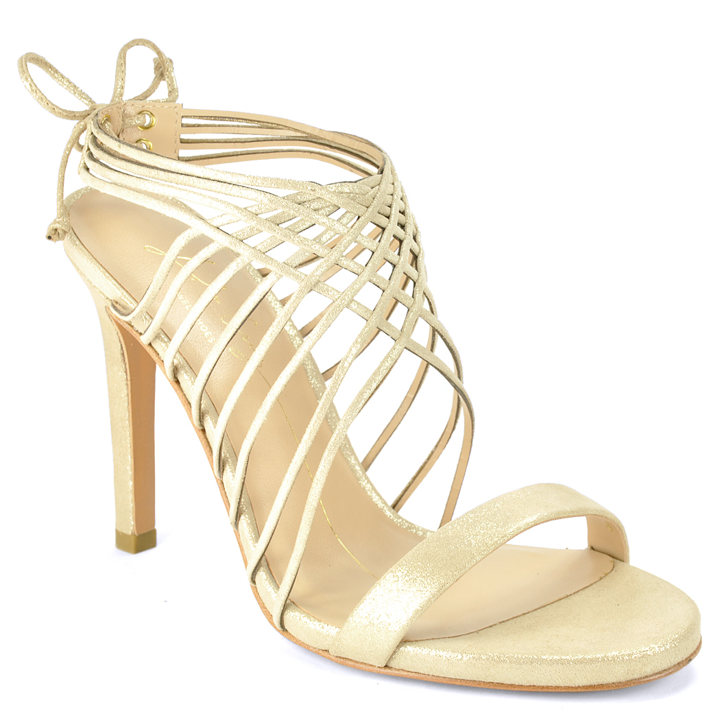 Lola cruz Cage Sandal in Metallic
