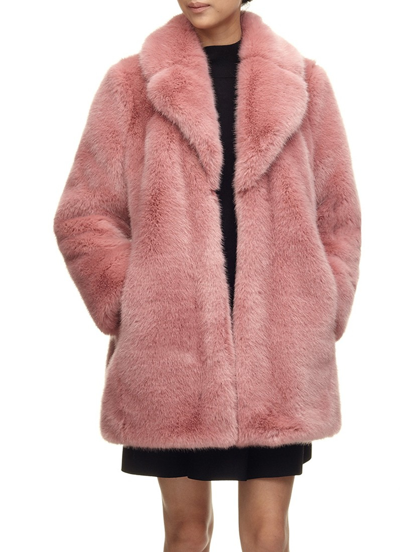Pink Faux Fur Coat Womens - Tradingbasis