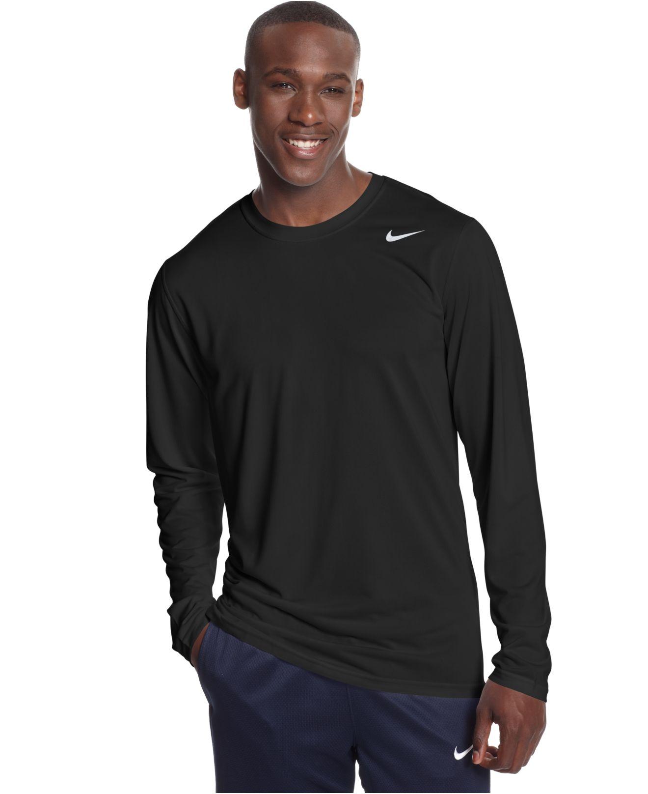 Nike Legend Long Sleeve Dri Fit T Shirt In Black For Men