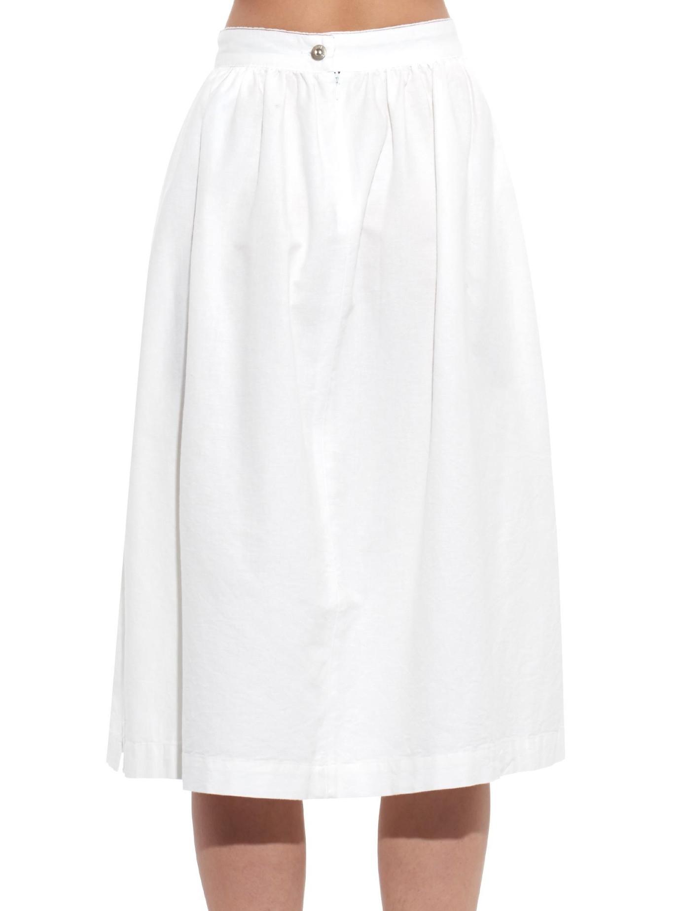 3x1 A-line Midi Denim Skirt in White | Lyst