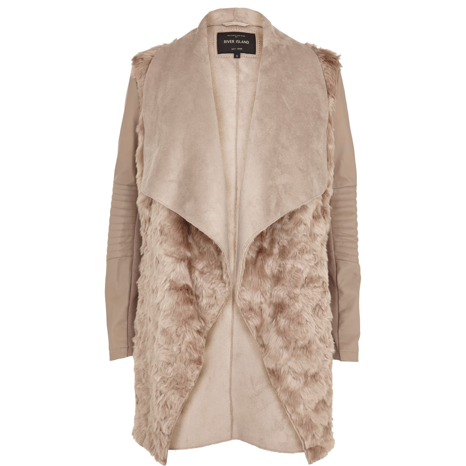 River island Beige Shearling Panel Waterfall Jacket in Natural | Lyst