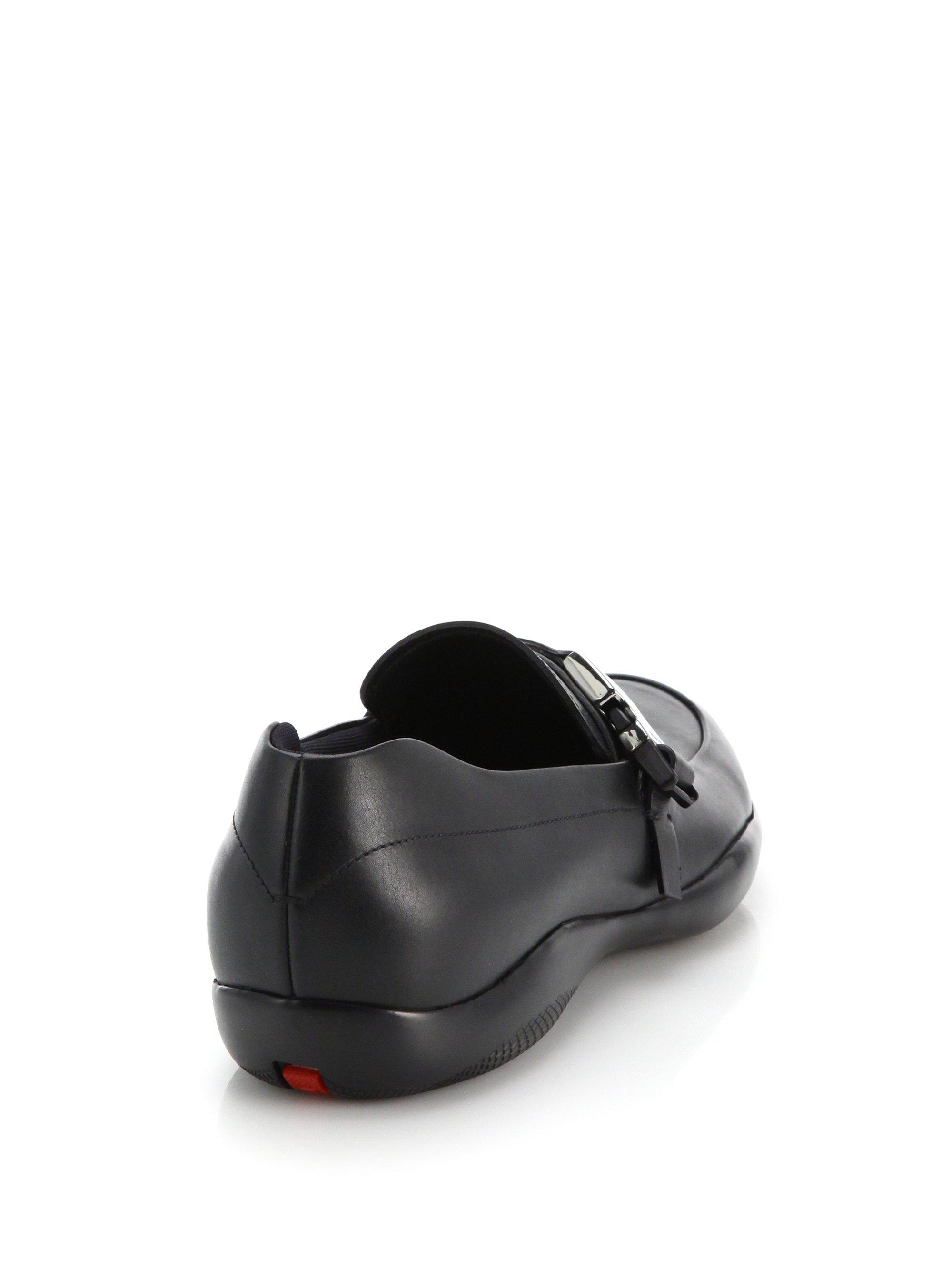 prada mini hobo handbag - Prada Iconic Buckled Leather Loafers in Black for Men | Lyst