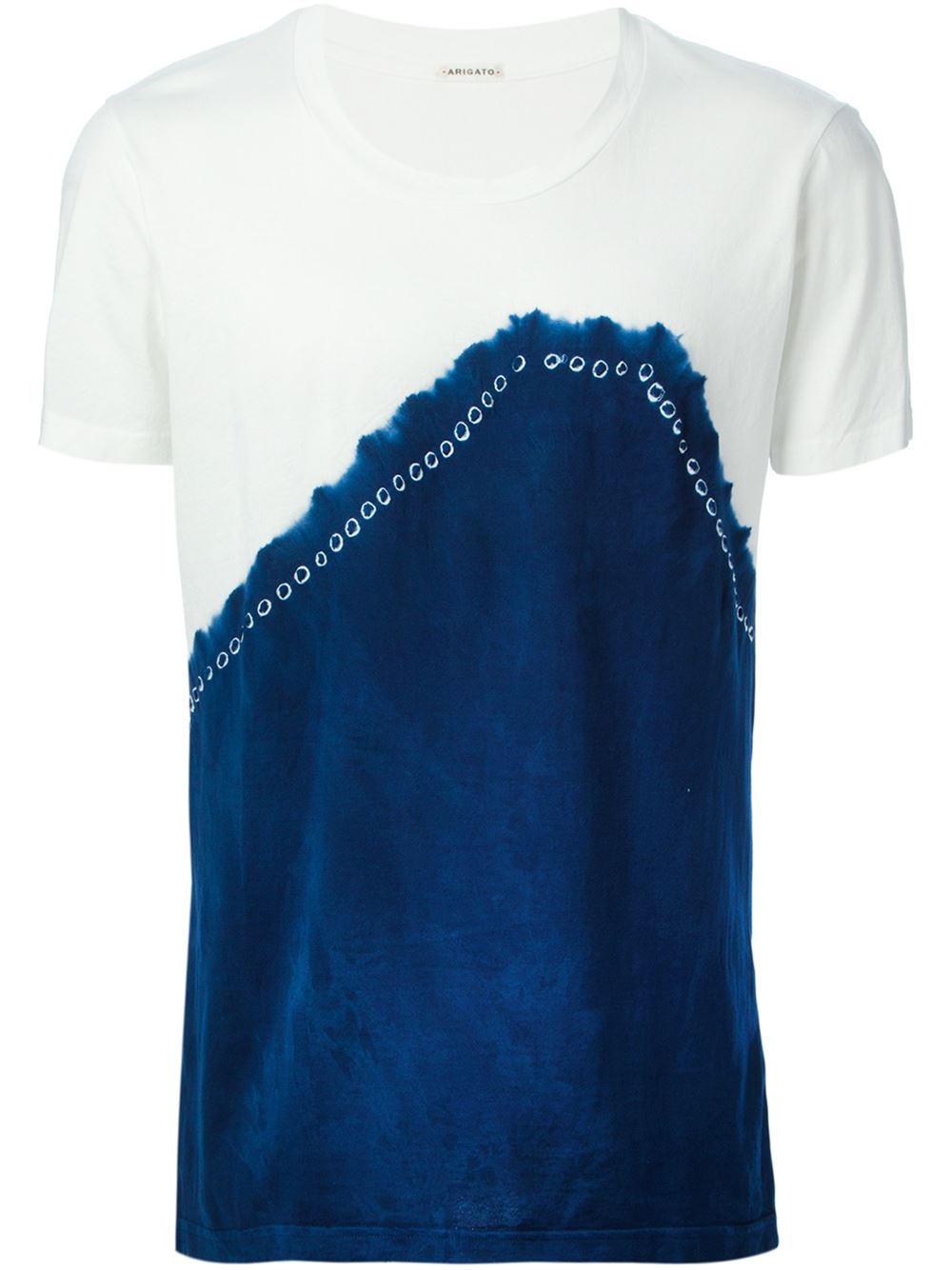 Blue blue japan tie dye print t shirt in blue for men for Tie dye printed shirts