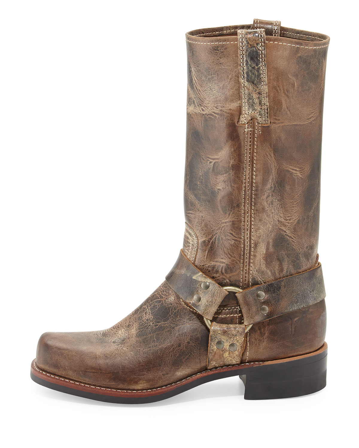 frye harness leather boots in brown lyst