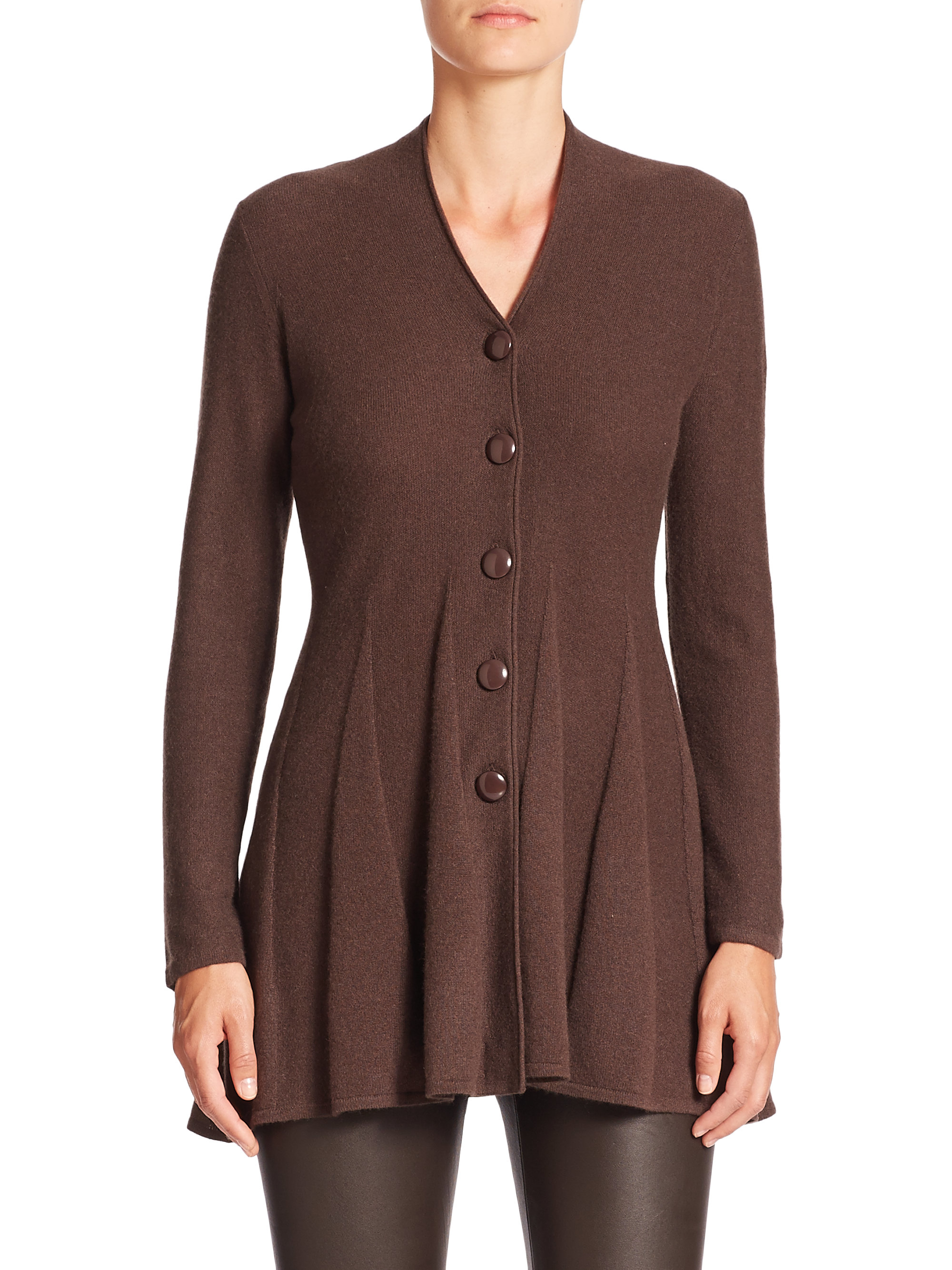 Armani Cashmere Godet Cardigan in Brown | Lyst