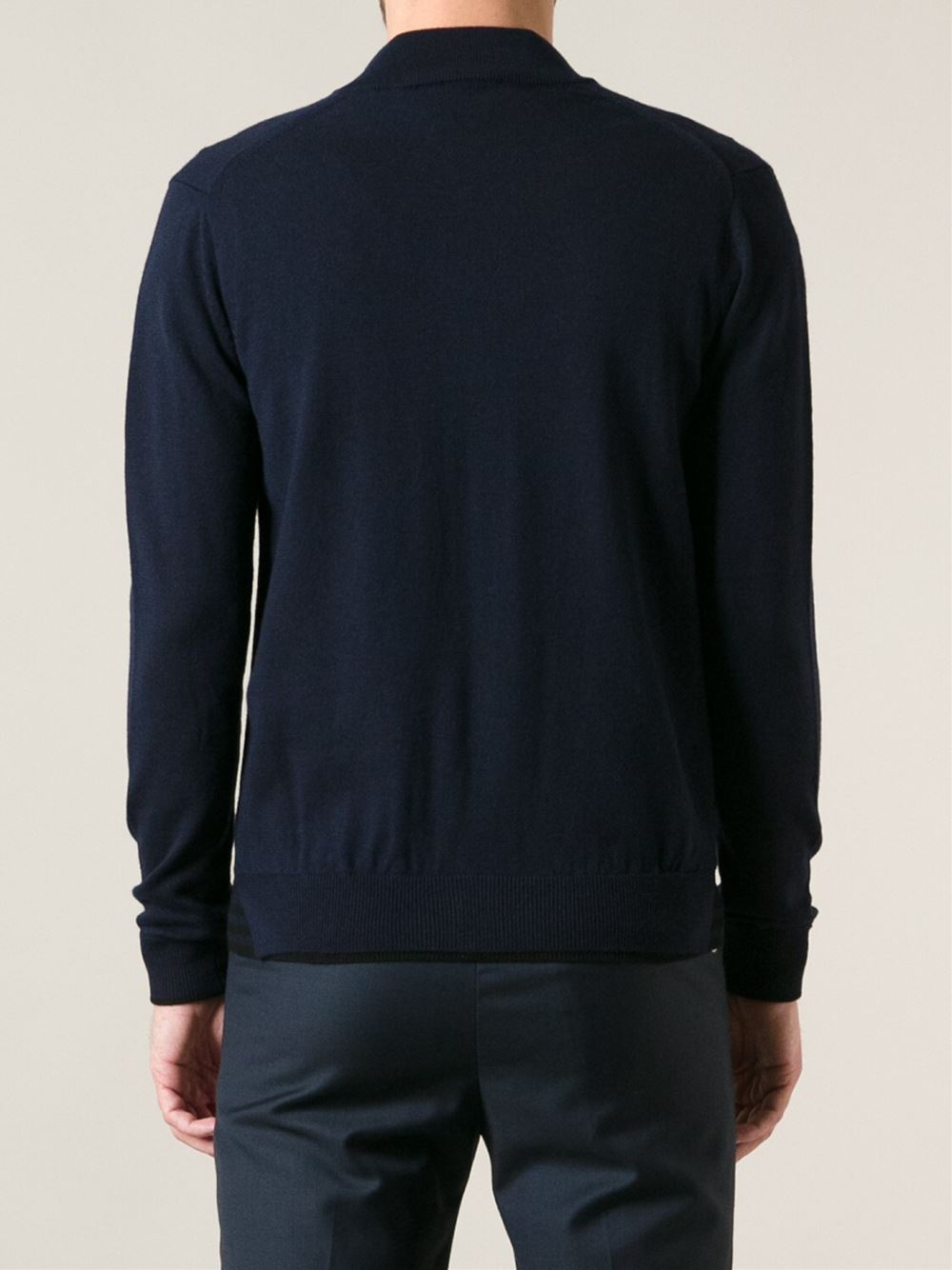 kenzo zip front sweater in blue for men lyst. Black Bedroom Furniture Sets. Home Design Ideas