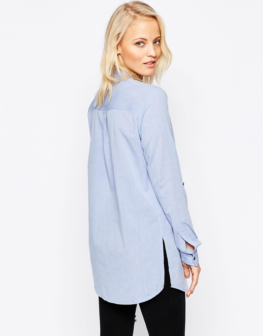 B Young Longline Shirt In Blue Chambrayblue Lyst