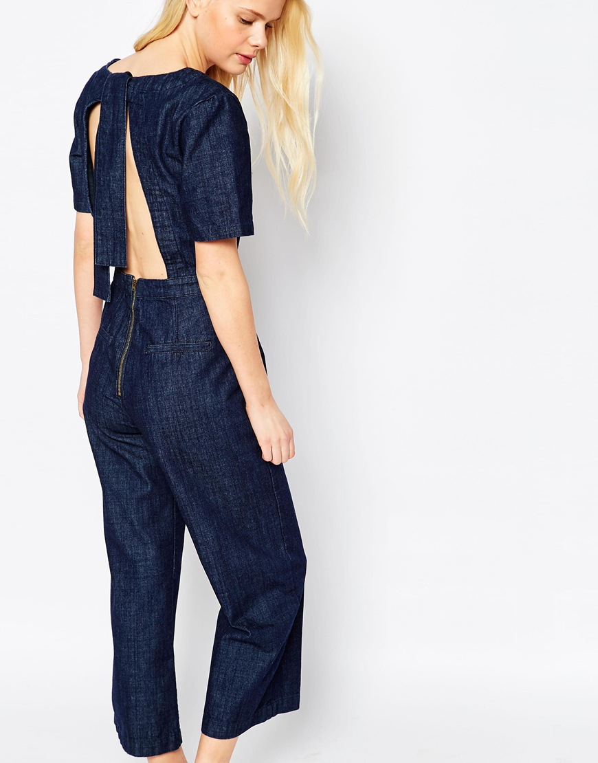5a69decdfe6 Lyst - Asos Denim Wide Leg Jumpsuit In Cropped Length With .