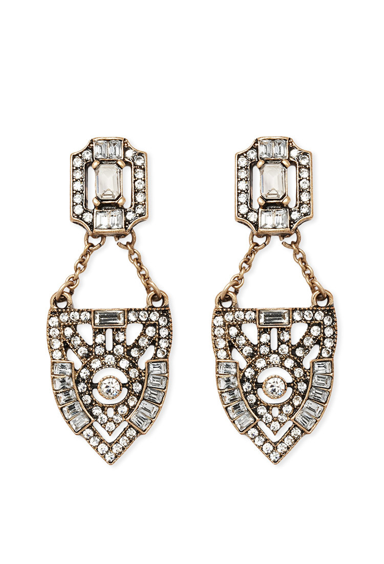 Lyst forever 21 rhinestone encrusted drop earrings in for Forever 21 jewelry earrings