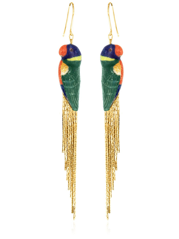 Nach Rainbow Parrot Earrings W/ Metal Fringe in Blue