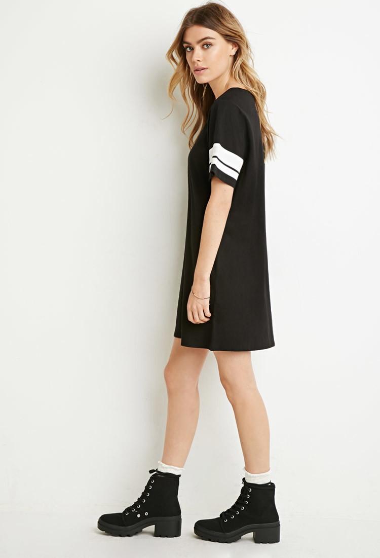 155f5f7f149 Forever 21 Varsity-striped T-shirt Dress in Black - Lyst