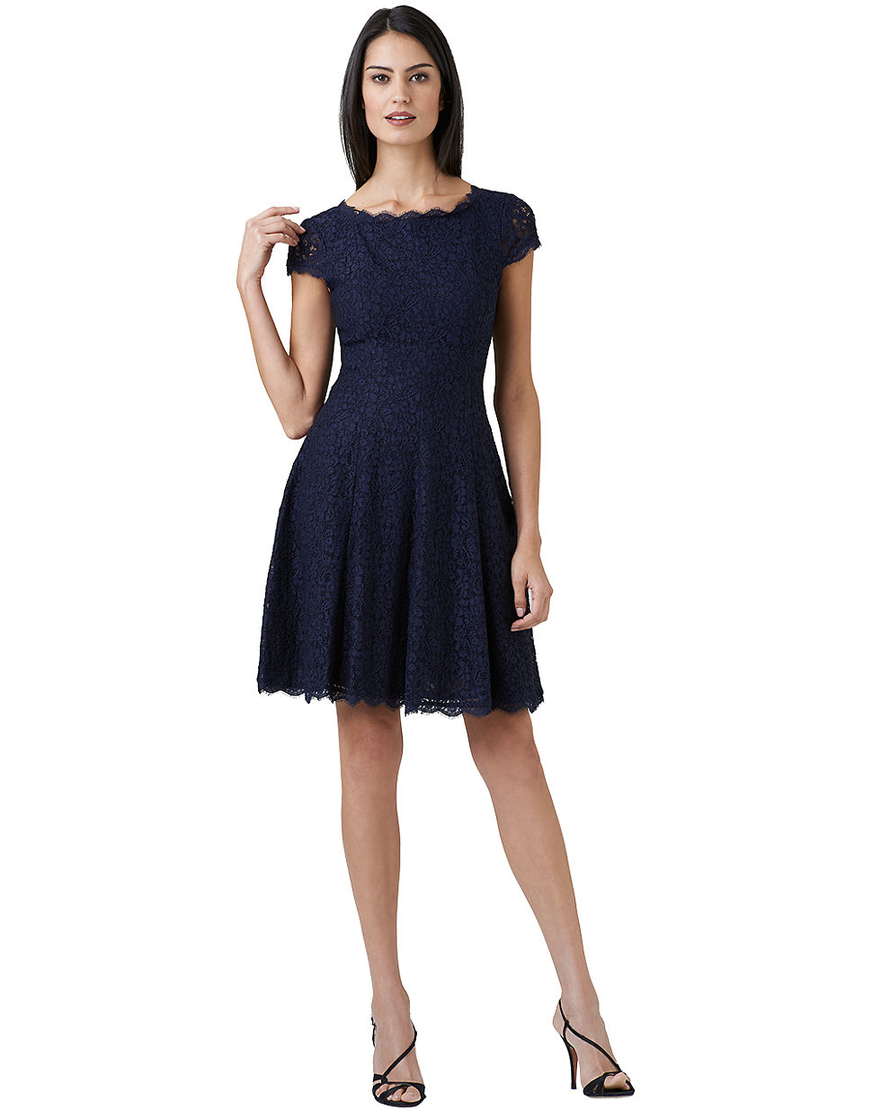 adrianna papell lace fit and flare dress in blue navy lyst