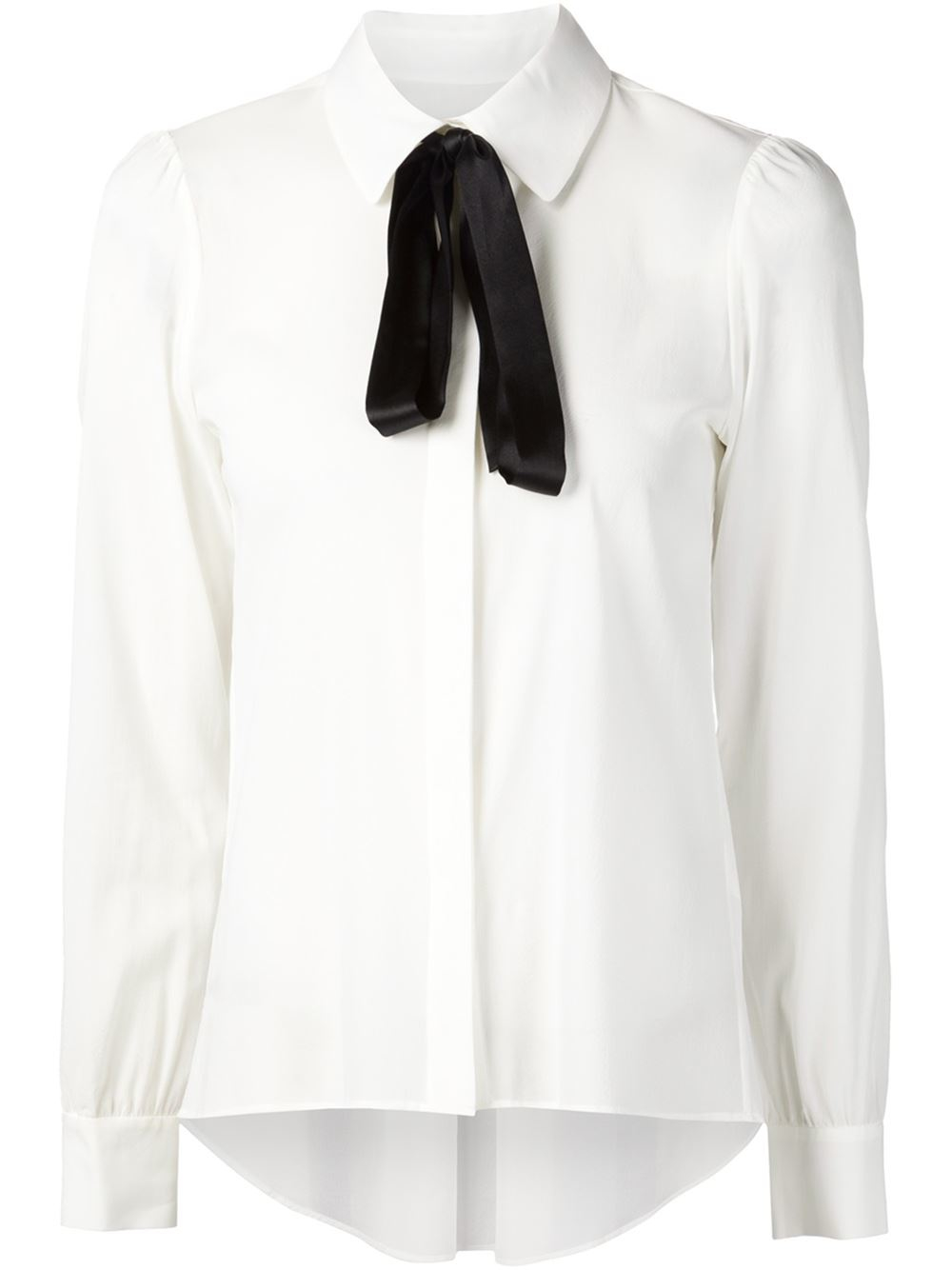Alice Olivia Pussy Bow Blouse In White Lyst