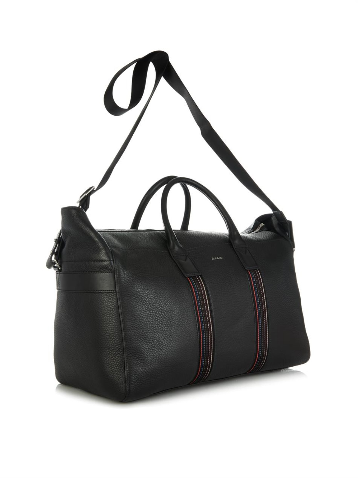 Paul smith City Webbing Leather Weekend Bag in Black for Men | Lyst