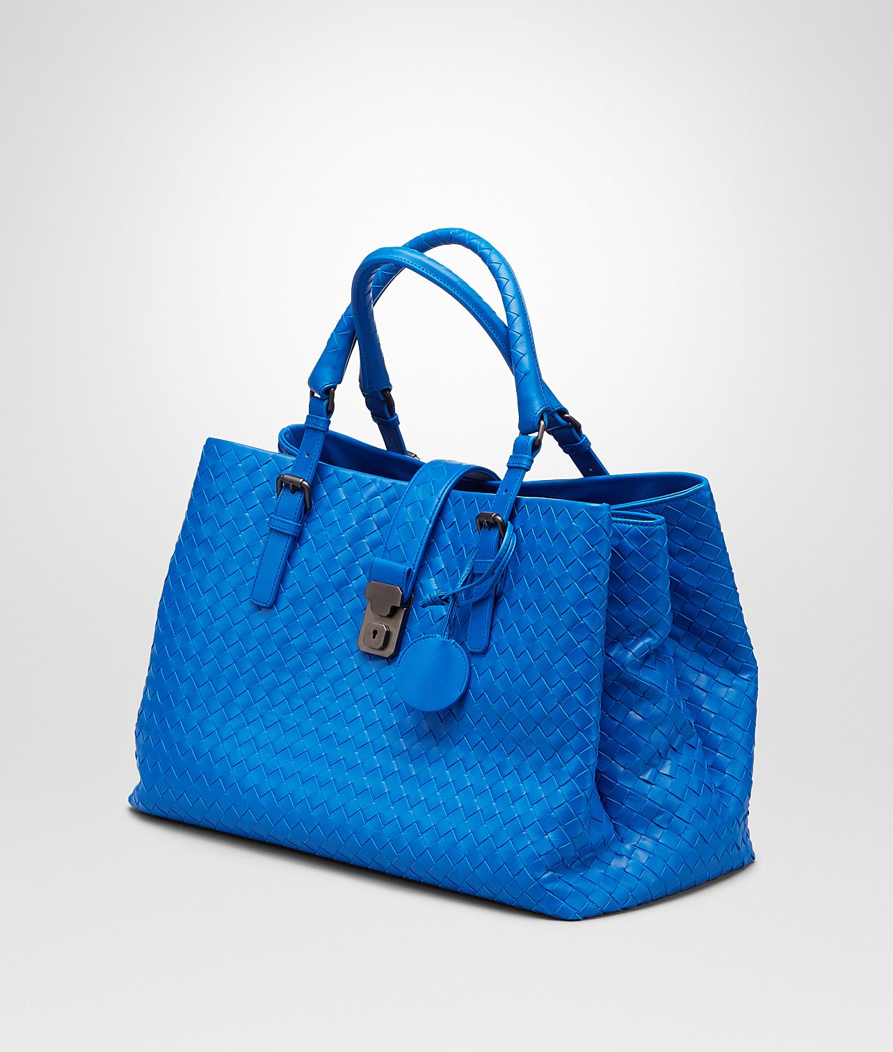 Lyst - Bottega Veneta Signal Blue Intrecciato Light Calf Roma Bag in ... 89d71c89e4fa6