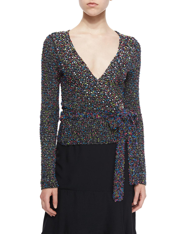 Diane von furstenberg Long-sleeve Beaded Ballerina Wrap Sweater in ...