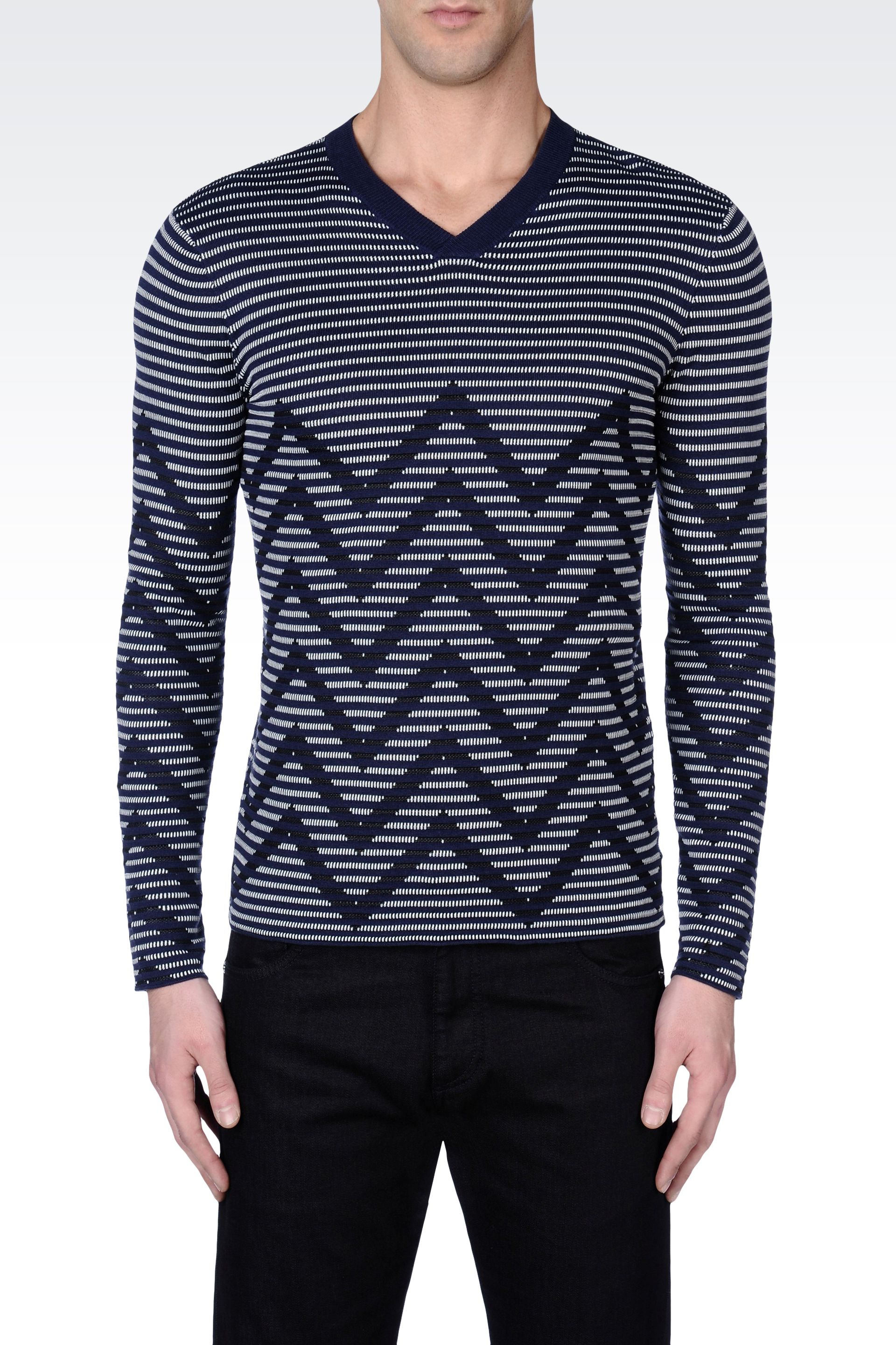 Armani Striped Sweater in Chevron Jacquard in Blue for Men | Lyst