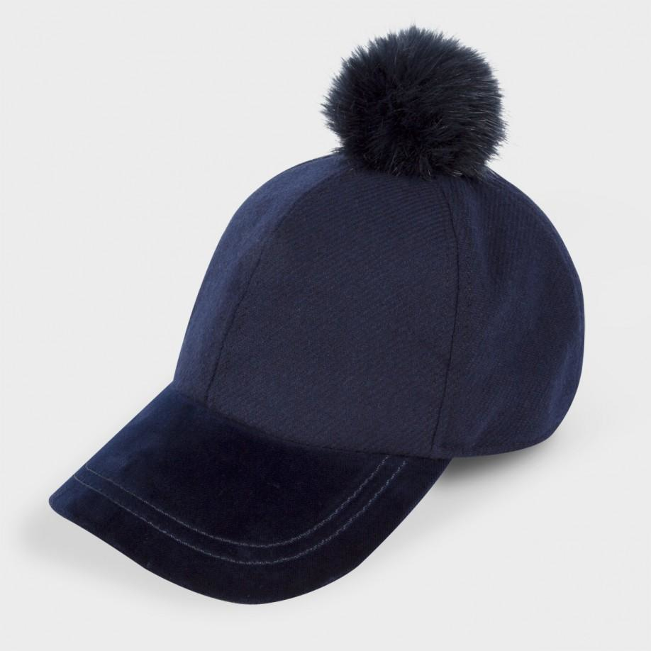 Lyst Paul Smith Women S Navy Wool And Velour Bobble Cap