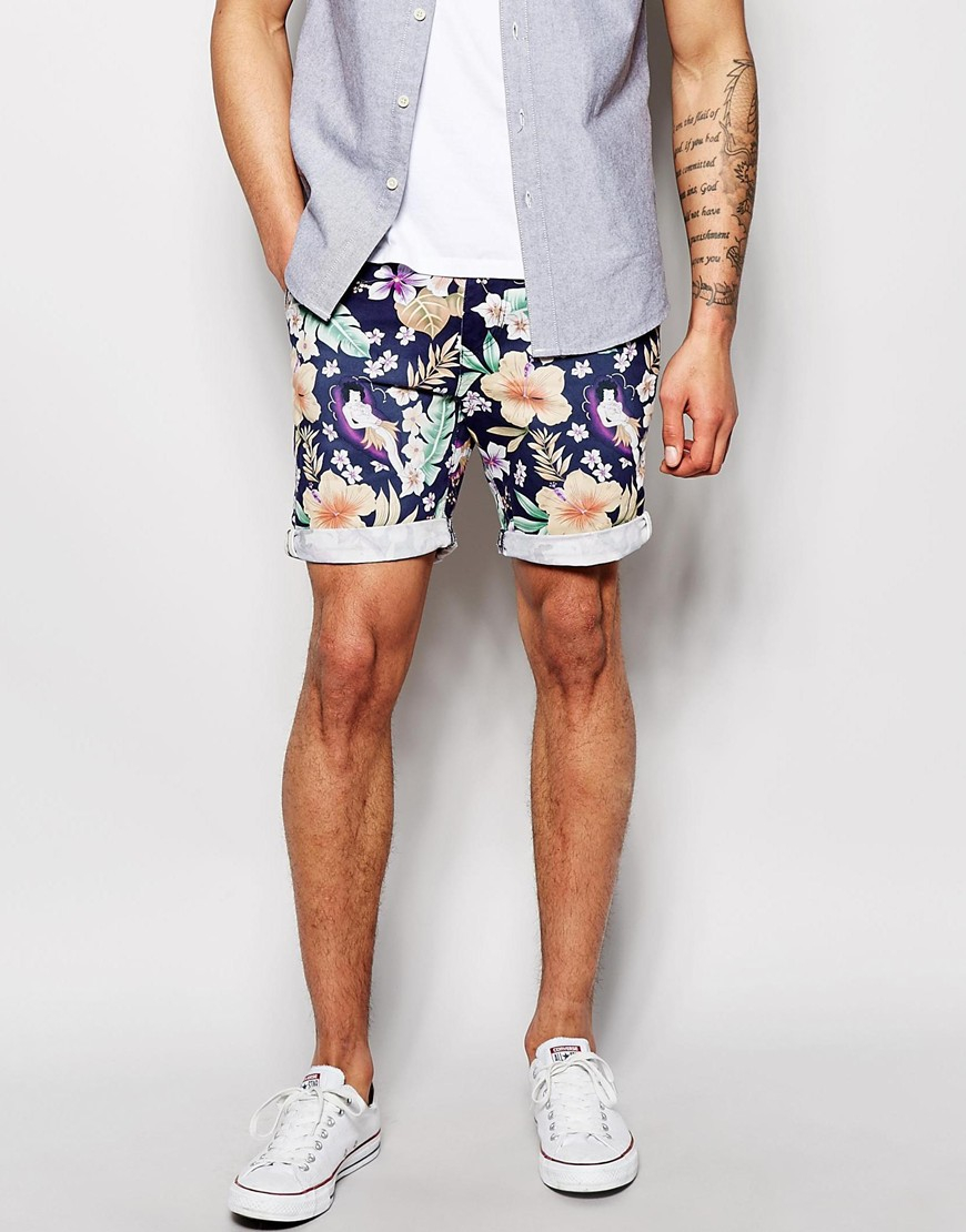 Bellfield Chino Shorts With Floral Print in Blue for Men | Lyst